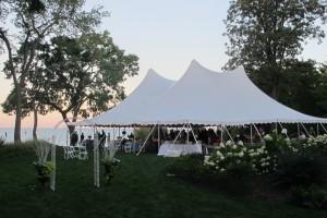 60x60 tent on lake michigan