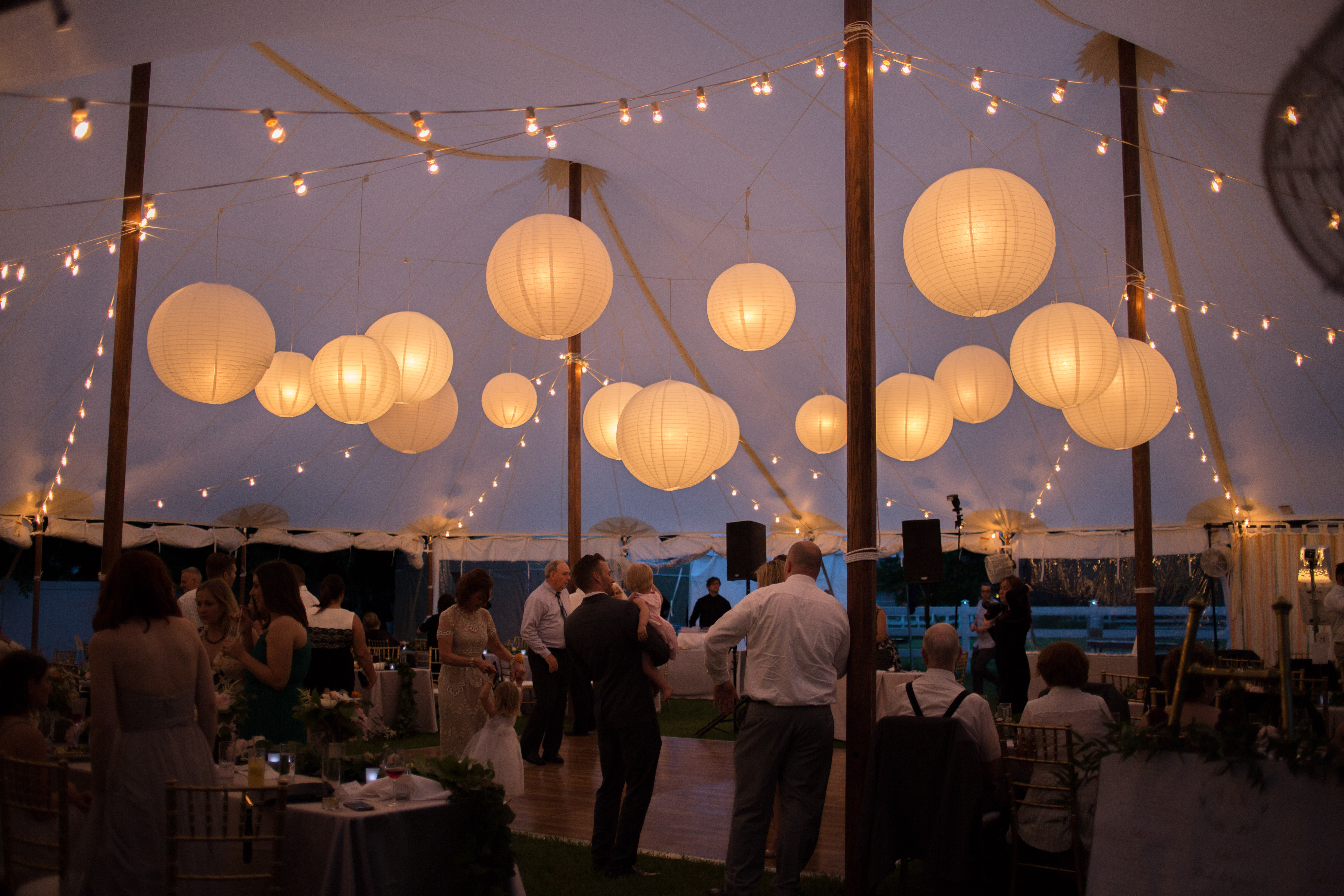 lanterns under sailcloth tent