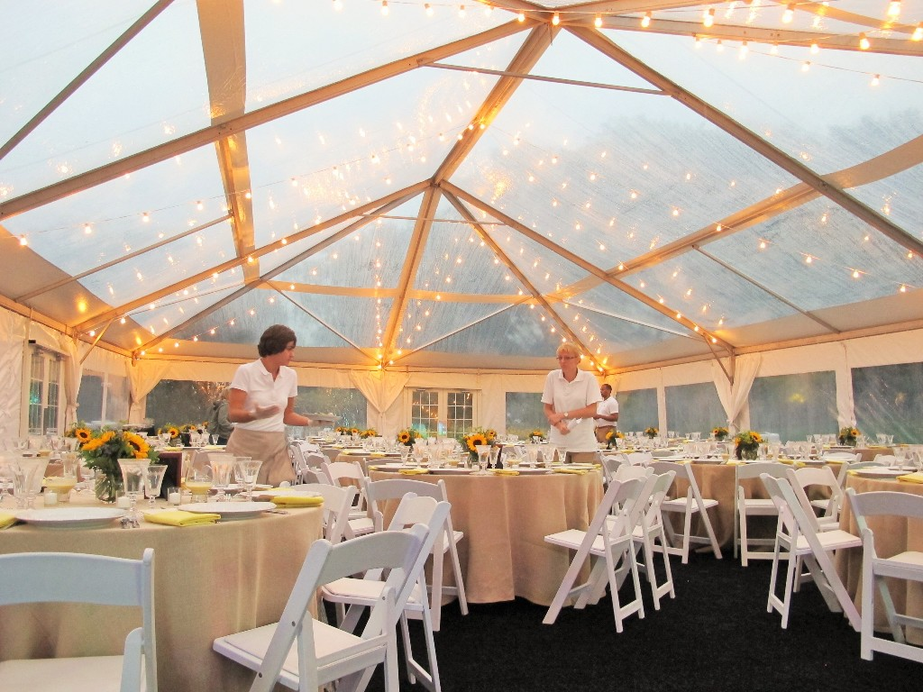 inside clear top tent