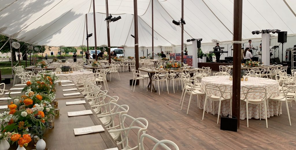 wood floor sailcloth tent rental